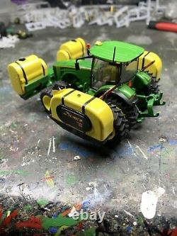 1/64 Custom John Deere 8400R Tractor With Front & Side Saddle Tanks Farm Toy