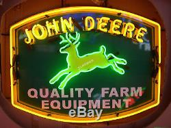 24 inches JOHN DEERE QUALITY FARM EQUIPMENT Tractor Dealer REAL NEON SIGN LIGHT