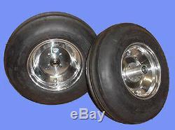 2 new 4.00-8 Garden Tractor Puller 3-Rib Front Tires on Aluminum Wheels D/S C