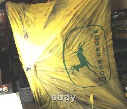 Antique Vintage John Deere Tractor Canvas Umbrella Yellow 4' X 4' Green Logo