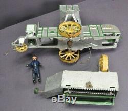 Antique Vtg Vindex Cast Iron John Deere Combine Tractor Toy Original Paint