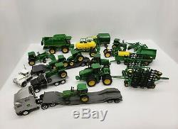 Assorted Lot of John Deere Tractors Combine Semis and Implements 1/64 Ertl Toys