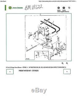 John Deere 420 430 Garden Tractor Bm18122 Quik Tatch Front Hitch