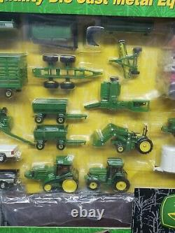 John Deere Farm Toy Playset 75 Pieces With Barn Dodge Ram Truck By Ertl 1/64 Scale