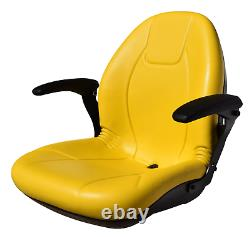 John Deere High Back Lawn Mower Compact Tractor Seat With Armrests Yellow