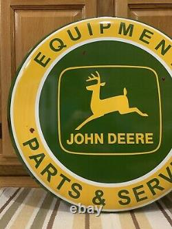 John Deere Metal Sign Parts Service Equipment Vintage Style Tractor Wall Decor