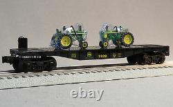 LIONEL JOHN DEERE FLATCAR 2 FARM TRACTORS 164 O GAUGE train tractor 6-83286 NEW