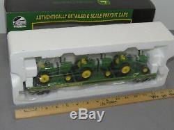 MTH O 027 Gauge Rail King JOHN DEERE Flat Car With 3 4010 Tractors 20-98361 NIB