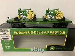 MTH RAILKING JOHN DEERE FLAT CAR With 3 MODEL A TRACTORS! MOLINE ILLINOIS O GAUGE
