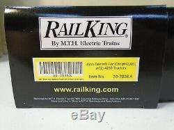 MTH RailKing JOHN DEERE 3-Car Flat Car Set with (2) 4230 Tractors 30-7036 NEW