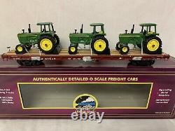 Mth Premier John Deere 4230 Tractors On Milwaukee Road 60 Flat Car! O Scale