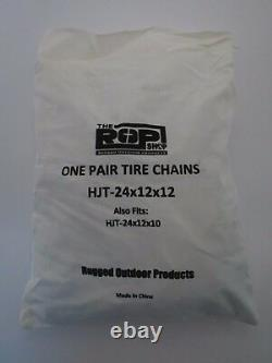 New PAIR 2 Link TIRE CHAINS 24x12-12 for John Deere Lawn Mower Tractor Rider
