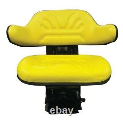 New Yellow Seat with Adj Angle Base Tracks/Suspen Made To Fit John Deere Tractor