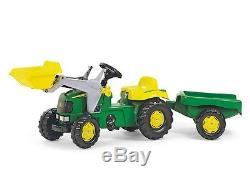 RollyKid John Deere Ride on Pedal Tractor + Front Loader + Kid Trailer Rolly