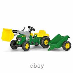 Rolly Toys John Deere Pedal Tractor with Working Front Loader & Detachable Trailer