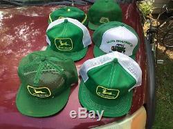 Six Vintage Snapback Trucker Hat Cap Farm JOHN DEERE Tractor Mesh