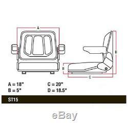 Universal T500BL Tractor Seat withSlide Tracks for Kubota Bobcat John Deere Ford