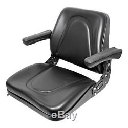 Universal Tractor Seat with Rails & Flip Arm Rests for Case IH Ford NH John Deere