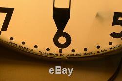 Vintage 1960's John Deere Telechron Dealership Lighted Clock Tractor Sign Orig
