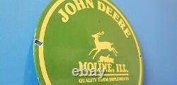 Vintage John Deere Porcelain Gas Farm Implements Service Sale Tractor Sign