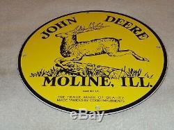 Vintage John Deere Tractors Moline Il11 3/4 Porcelain Metal Gasoline & Oil Sign