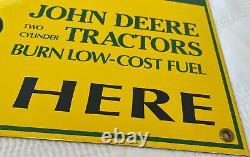 Vintage John Deere Tractors Porcelain Sign Sales Service Dealership Farm Barn Ih