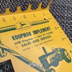 Vtg JOHN DEERE circa 1960 bolt/bit sizer 530 tractor Iowa phone PY 2-6000 advert