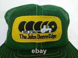 Vtg John Deere Edge Cap Snapback Trucker Hat Louisville Mfg Brand USA Farmer K